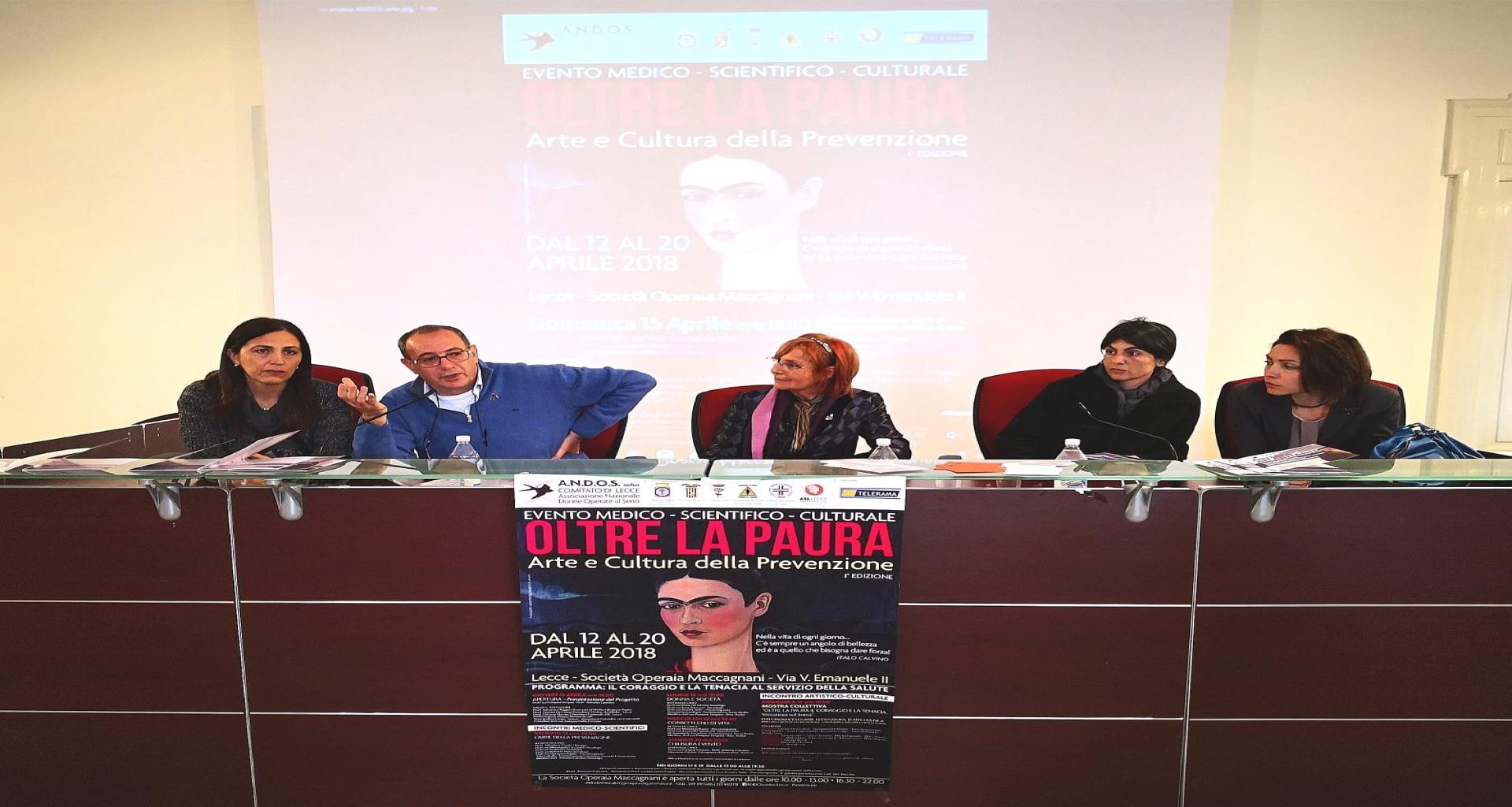 """Lecce """"Oltre la Paura arte e cultura della prevenzione"""" l Andos presenta un singolare connubio tra Arte e Salute"""